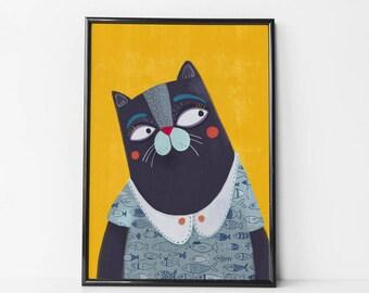 cat print nursery, Hipster Cat print, cat wall art, cat lover gift, cat wall art nursery, wall decor cat print,  cat Wall decor, cat nursery