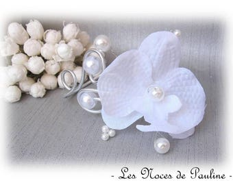Wedding white Orchid GM 'Arabesque' bracelet