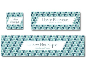 Matching facebook cover photo and etsy shop banner design graphic green and white triangles