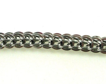 Chainmail Jewelry, Silver Anodized Aluminum Full Persian Square Ring Chainmaille Bracelet