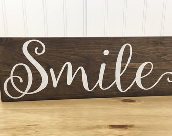 Handmade Rustic Smile Sign - Smile Sign - Rustic Decor - Small Sign - Wood Decor - Wood Sign - Hand Painted Sign