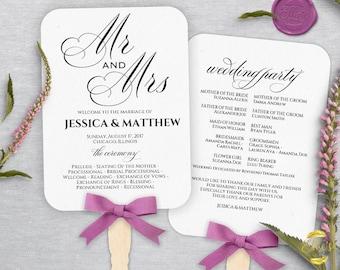 Wedding Fans, PC and Mac,  Printable Wedding Fan Program Template, Fan Wedding Program, Editable text, Modern Calligraphy, Mr Mrs, MAMWF01