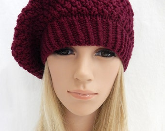 Knit Hat Slouchy Beret Handmade.. Burgundy Merlot...(Ready to Ship)