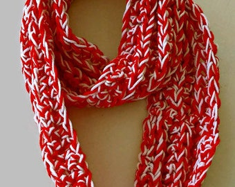 Infinity Scarf - Red and White Infinity Scarf - Crochet Scarf - Crochet Infinity Scarf - Ready to ship