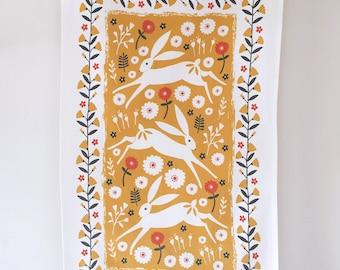 Dancing Hares Premium Cotton Fringed Tassel Tea Towel | Folk Style | Kitchen Towel | Kitchen Textiles | Beautiful Homewares | Housewarming