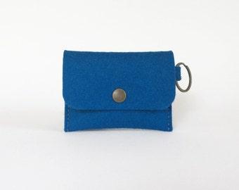Royal Blue Wool Felt Coin Purse | Felt Cardholder
