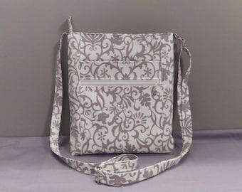 Pretty gray white fabric crossbody bag, shoulder bag. Room for all the essentials!