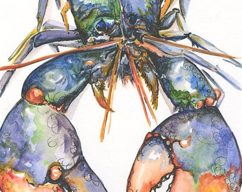 Lobster 9x12 Canvas or Giclee Print of Original Watercolor