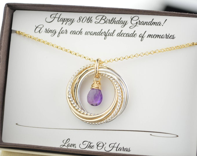 80th Birthday gift for grandma, February birthstone necklace, Amethyst necklace, 8 Mixed metals necklace, 8th Anniversary gift, 8 Rings neck