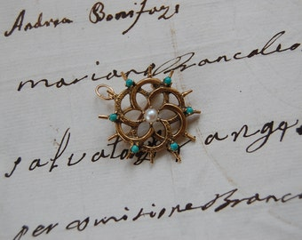 Victorian 14kt Pin/Pendant w/Turquoise & Pearl
