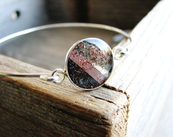 Brown and Black Colorblock Bracelet, Bangle Bracelet, Bracelet Stack, Stacking Bracelet, Resin Jewelry, Eco Friendly