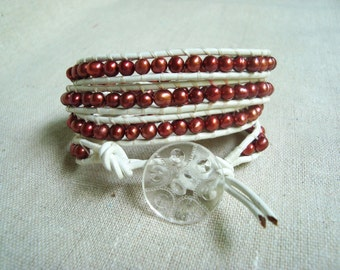 It's A Wrap - White Leather & Maroon Freshwater Pearls Wrap Bracelet with Vintage Clear Acrylic Button (MSU colors)