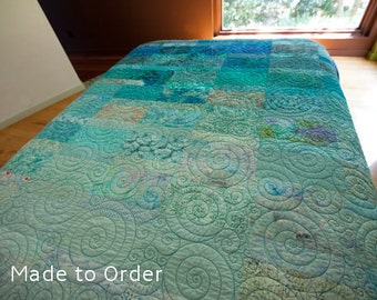 King Size Quilts Modern Quilt King Quilt Ocean Quilt Turquoise Quilt King Bedding Modern King Size Quilt King Art Quilt Fiber Art Quilt