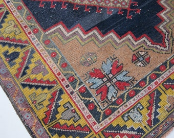 "6'x3'9"" Red Yellow and Navy Vintage Turkish Oushak Rug"