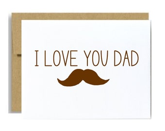 I love you dad mustache card fathers day greeting card brown birthday card for dad for him simple a2 funny mustache lover dad card