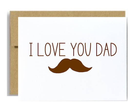 I love you dad mustache card fathers day greeting card brown i love you dad mustache card fathers day greeting card brown birthday card for dad for him simple a2 funny mustache lover dad card bookmarktalkfo Image collections