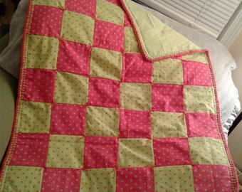 Pink and Green Dot Baby Quilt