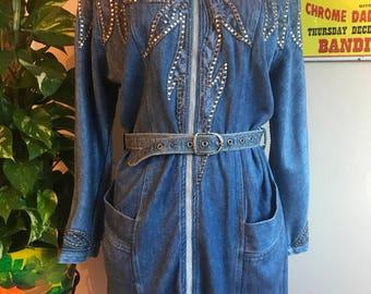 1980s Studded denim Jacket or dress