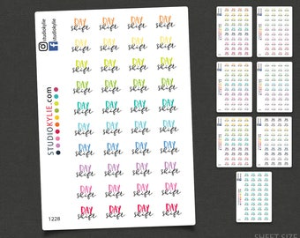 Day Shift Planner Stickers  - Repositionable Matte Vinyl Stickers for all Planners