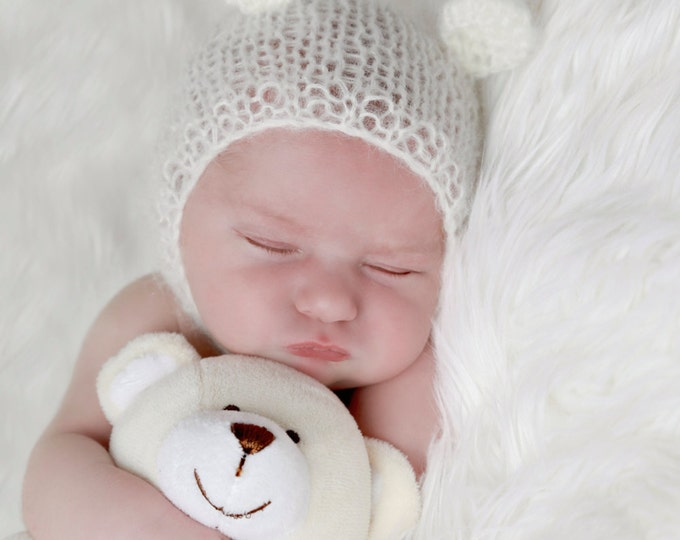 Bear Hat, Ivory Mohair, Perfect for Newborn  boys or girls for photo shoots, photographers, baby bonnet, photo prop by Lil Miss Sweet Pea