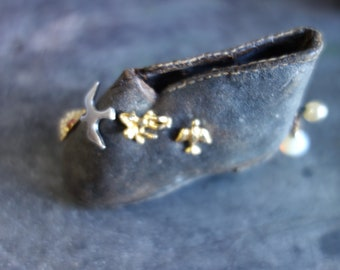 miniature Victorian leather boot with hobnails,  charm keeper