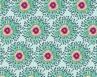Cotton Jersey Knit - Priory Square Clover Field Fabric - Aqua - Sold by the 1/2 Yard