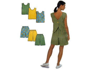 Women's Sleeveless Top and Shorts Sewing Pattern Misses' Size 10-12-14-16-18-20 Uncut Simplicity 8203