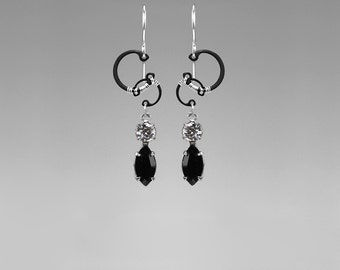 Black Swarovski Crystal Industrial Earrings, Grey Crystal, Industrial Earrings, Bridal Jewelry, Statement Earrings,  Black Hole II v7