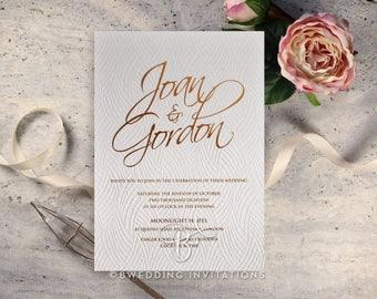 Charming Wooden Love , Wedding Invitation, Letterpress & Matt Gold Foil Stamping  - IWP17103