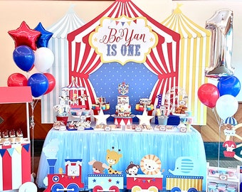 DIGITAL FILE Carnival Circus Birthday Banner Backdrop Large Scale Printable Vintage
