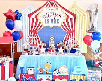DIGITAL FILE Carnival Circus Birthday Banner Backdrop, Large Scale Carnival Circus Backdrop Printable, Vintage Circus, 84x72 inches
