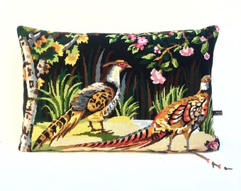 French Tapestry Needlepoint Strutting Pheasants Game Birds   Linen Pillow Cushion Cover