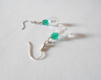 Dangling earrings faceted Czech crystal AB and green