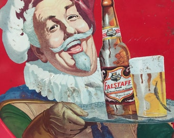 Vintage Falstaff Beer Bar man red metal beer tray from 1960s  box 130