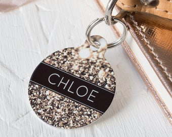 Personalised Glitter Pet ID Tag  - Dog Name Identification
