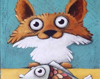 Fox with fish, Original Painting, Ivan Glock 70x50,
