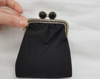 Pretty Black Kiss Clasp Purse/Kiss Clasp Coin Purse/Kiss Clasp Change Purse