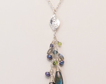 Flashy Labradorite Briolettes ans Sterling Silver  Necklace