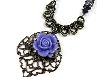 Lilac Purple Vintage Style Necklace, Swarovski Crystal Vintaj Brass Flower Necklace, Romantic Flower Necklace, Floral Boho Chic Gift Ideas