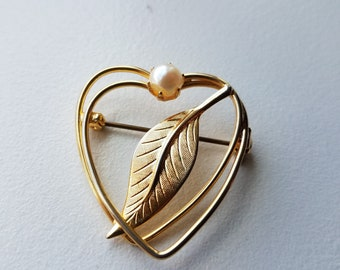 Gold Heart Brooch with Pearl Accent