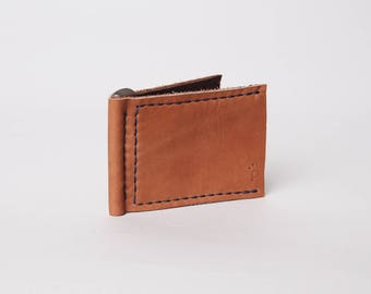 Leather Money Clip Wallet | Tan Leather Wallet | Minimalist Leather Wallet | Slim Leather Wallet