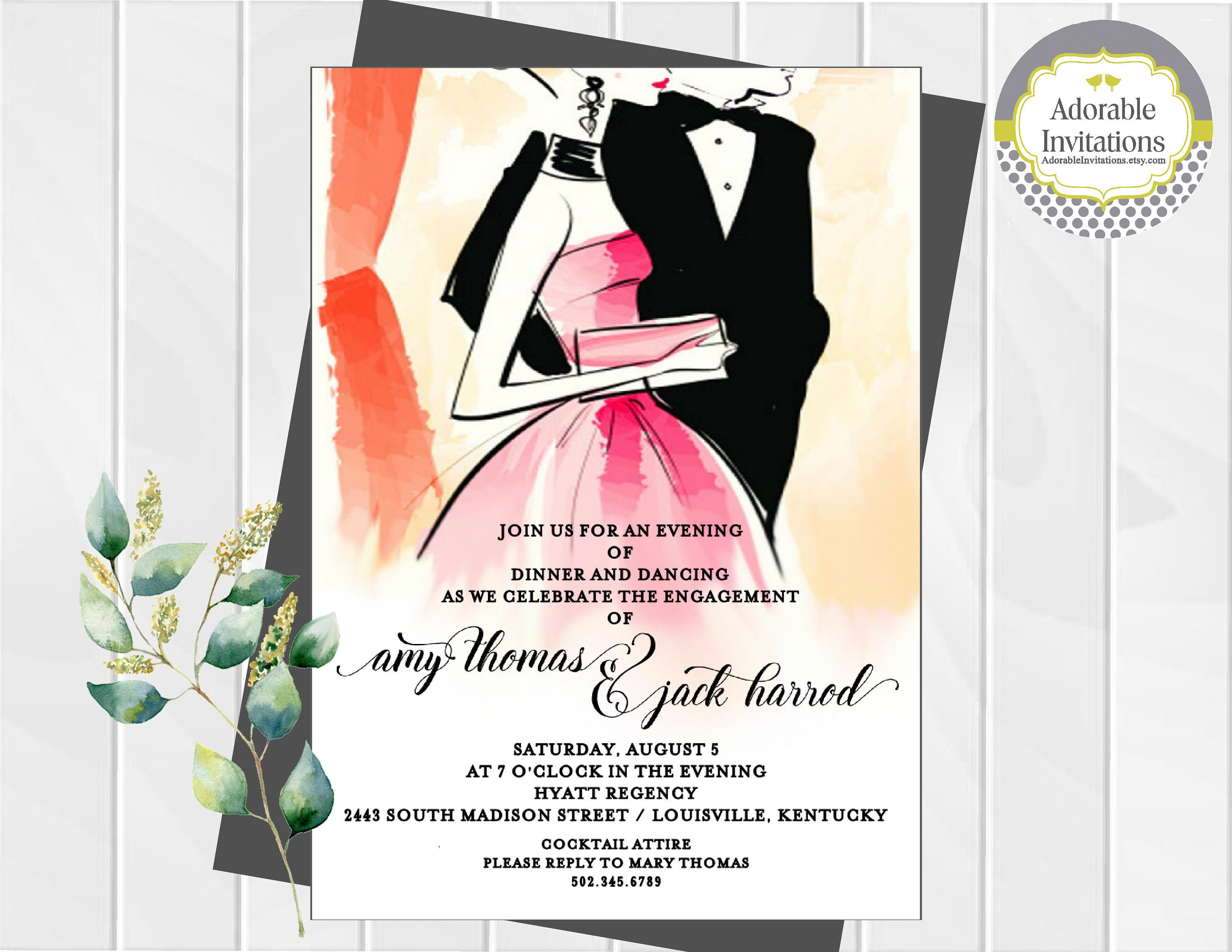 Formal dance invitation engagement party invitation after zoom stopboris Gallery