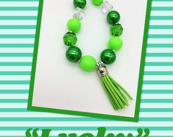 Green Chunky Bubblegum Necklace - Lucky St Patricks Day Chunky Necklace - Girls or Toddler Green Tassel Necklace - Green Tassel  Party Favor