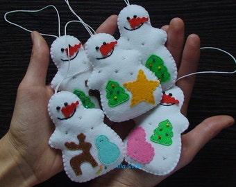 Snowman, set of 5 snowman ornament, Christmas Decorations, Christmas Felt Ornaments, Handmade Christmas Ornaments, Felt Ornament Decorations