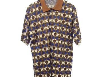 Vintage VERSUS VERSACE Polo Shirt Fullprint Medusa Head Nice Design