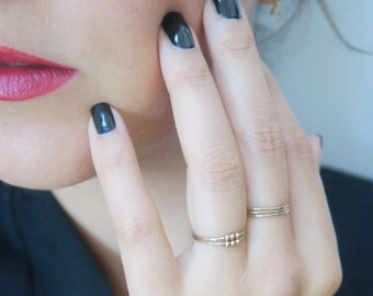 Soft Thin stacking Rings with 3 Gold Beads - Gold filled 14kt