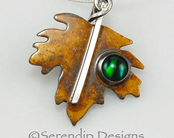 Silver Maple Leaf Necklace with Green Paua Shell Cabochon, Patina Sterling Silver Maple Leaf Pendant