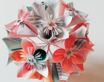 Origami paper flower bouquet