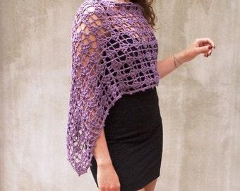Poncho rustic lace women wedding crochet infinity scarf wraps shawls Purple cape cottage chic