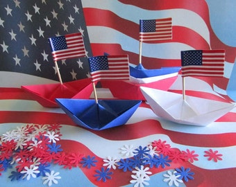 4th of July patriotic party decoration confetti flags paper boats red white blue
